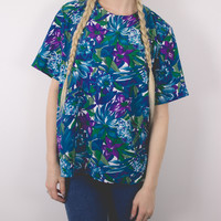 Vintage Tropical Short Sleeve Blouse