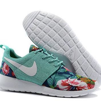 Custom Nike Roshe Run Flyknit Sneakers Athletic Womens Shoes With Fabric Floral Print - Beauty Ticks
