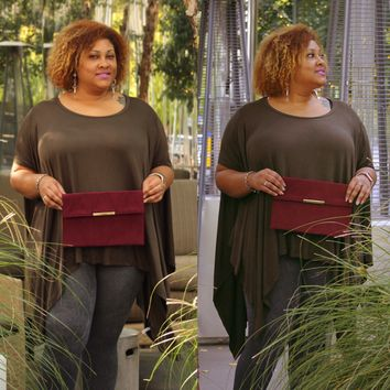 TRUE+ ~Oliveher Twist Olive Oversize Top ~ Clutch Accent