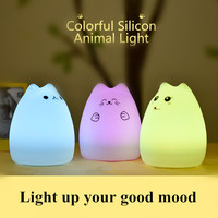USB Rechargeable Colorful Silicone Cute Cat Night Light Children Toy Bedroom Bedside Table Lamp Birthday Gift For Your Friend