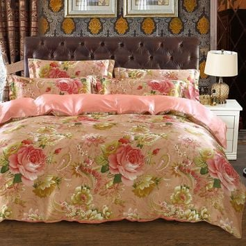 satin silk bedding set bedspread coverlets duvet covers sets twin full queen king size pink peony flower print woven girls home