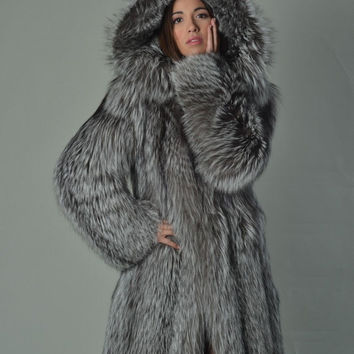 Silver Fox Fur Coat Women's Hooded Knee Length/ Luxury gift/ Wedding,or anniversary present