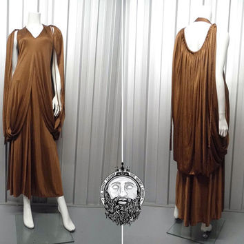 Vintage 70s FRANK USHER Brown Satin Grecian Maxi Dress Cape Dress Deep V Neck Avant Garde 1970s Disco Dress Evening Gown Braid Open Back
