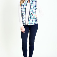 Mommy & Me Plaid Vest - Mint/Navy