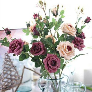 ICIK7Q Artificial Fall Roses Fake Leaf Flowers Home Wedding Decoration Flowers Home Ornament Accessories E2S