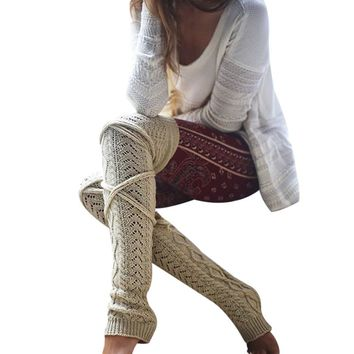 Winter Knitted Crochet Knee Long Stocking Women Sexy Thigh High Stocking Stay Up Leg Warmers Boot Legging Collant Femme
