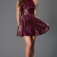 Short Sequin High Neck Dress