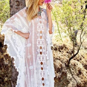Beachwear Saida De Beach Long Lace Swim Cover Up Swimwear To Outings 2018 New Products Big Crochet Dress Neck Animal Cotton