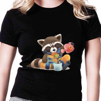 Groot And Rocket Racoon Together Forever TV Womens T Shirts Black And White
