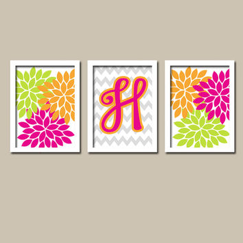 Colorful Hot Pink Green Orange Monogram Flower Burst Letter Initial Set of 3 Trio Prints Chevron WALL Baby Decor ART Bedroom Picture NURSERY