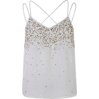 Grey embellished multi strap cami top