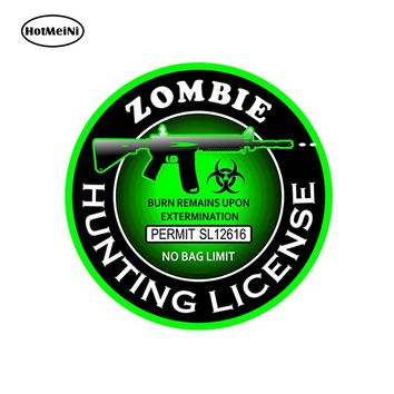 HotMeiNi 13cm x 13cm Car Accessories 3D Car Sticker Zombie Hunting License Bio Hazard AK 47 Round Decal Waterproof