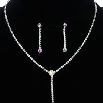 Aurore Boreale Faceted Round Aurora Rhinestone Y Necklace And Earring Set