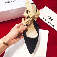 THE ROW Coco Suede and Satin Black Beige Women Mules - Best Deal Online