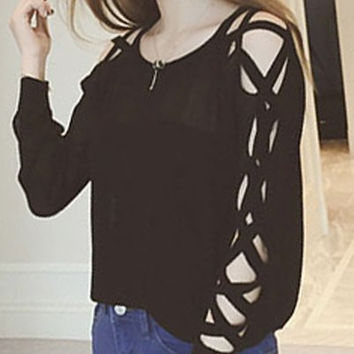 Black Cut out Long Sleeve Pullover Sweater