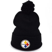 ONETOW Perfect Pittsburgh Steelers Women Men Embroidery Beanies Winter Knit Hat Cap
