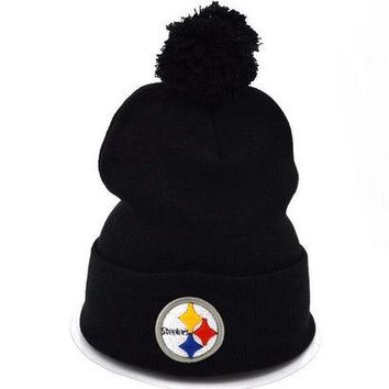 DCCK7HE Perfect Pittsburgh Steelers Women Men Embroidery Beanies Winter Knit Hat Cap