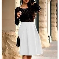 White Stretch Knee Long Length Bell Flare A Line Skater Pleat Midi Skirt