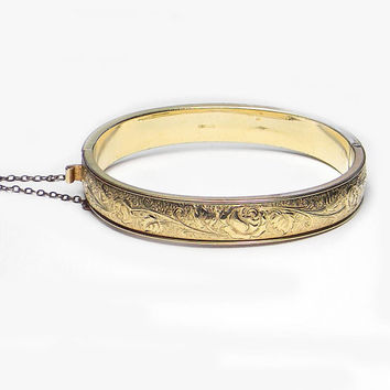 Winard Bangle Bracelet Etched Rose Pattern Hinged Gold Filled Victorian Style