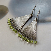 Peridot earrings, Sterling silver dangle earrings, rustic natural jewelry, OOAK