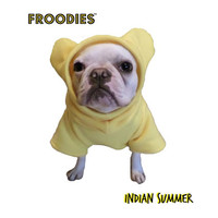 French Bulldog Boston Terrier Pug Froodies Hoodies Sunny Yellow Fleece Sweatshirt Jacket Coat