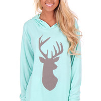 Soft Mint Hoodie with Suede Deer Decal