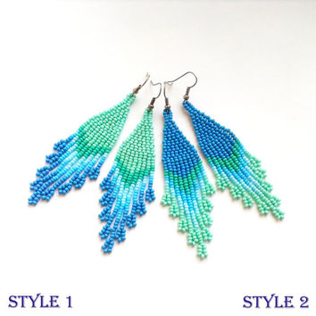Beaded Earrings Turquoise Blue Seed Bead Dangle Chic Beadwo