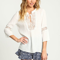 WHITE CROCHET CREPE TIED BLOUSE