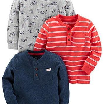 Simple Joys by Carter's Baby Boys' Toddler 3-Pack Long Sleeve Shirt, Gray, Navy, Red Stripe, 5T