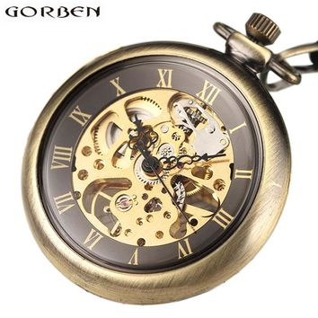 Vintage Skeleton Steampunk Mechanical Pocket Watch Necklace Hand Wind Silver Bronze Retro Clock Chain Pendant Men Women Gift
