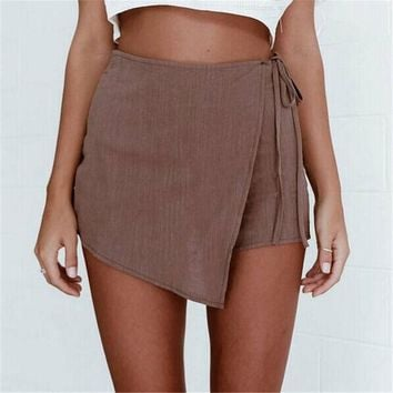 Autumn Fashion Women Shorts Linen Irregular Ladies High Waist Girl Shorts Wrap Hip Cosy Shorts Culottes