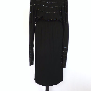 Vintage 70s does 1930s Black Beaded Grecian Dress Size Medium Small Gown 40s Flapper Long Sleeve Disco Glam Fitted Mermaid Prom Avant Garde