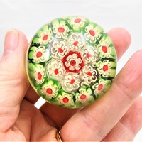 Millefiori Paperweight, Concentric Millefiori Glass, Close Packed, Green, Red, White, Vintage Paperweights