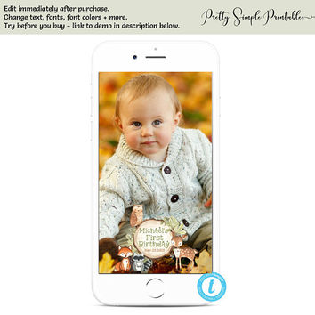 Woodland Snapchat, Woodland Birthday, Snapchat Template, Templett, Woodland Template, Woodland Theme, Woodland Party, Instant Download WD03