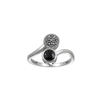 Aura by TJM 925 Sterling Silver 0.64 cttw Checkerboard-cut Black Onyx with 0.05 cttw Pyramid-cut Marcasite Ring size 8