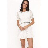 Amazon.com: Kirra Womens Belted 3/4 Sleeve Lace Dress: Clothing