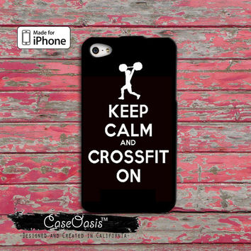 Keep Calm and Crossfit On Gym Crossfit Custom iPhone 4 and 4s Case and Custom iPhone 5 and 5s and 5c Case wod working out buff