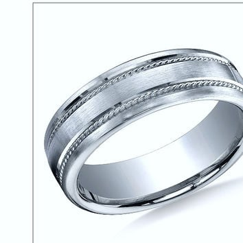 14K White Gold 7.5mm Comfort-Fit Satin-Finished Rope  Design Band
