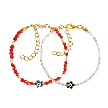 Evil Eye Protection Love Couples Amulets Set Royal Red White and Blue Accents Lucky Star Bracelets