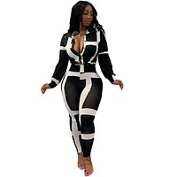 Women Two Piece Black/White Long Sleeve Button Up Printed Top Pant Set