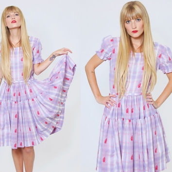 Vintage 60s WESTERN Square Dance Dress Lavender PLAID Rockmount Ranch Wear EMBROIDERED Full Circle Tiered Midi Dress