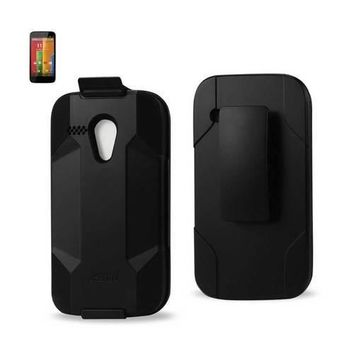 REIKO MOTOROLA MOTO G HYBRID HEAVY DUTY HOLSTER COMBO CASE IN BLACK