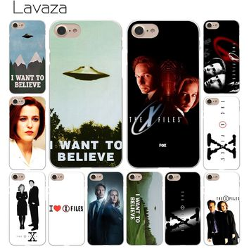 Lavaza The X Files I want to believe Hard White Coque Shell Phone Case for Apple iPhone 8 7 6 6S Plus 5 5S SE 5C 4S X 10 Cove