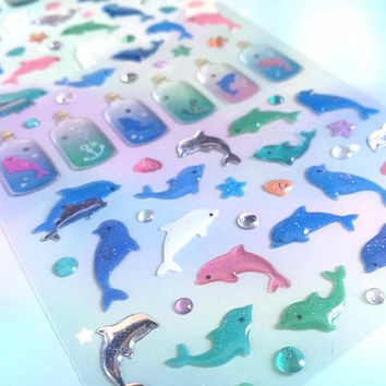 dolphin sticker dolphin theme blue fish cute fish sea animal sticker dolphin starfish glass bottle ocean world seal sticker cute sticker