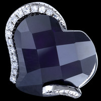 Silver ring, zirconia, heart