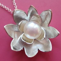 Silver Lotus Necklace by sudlow on Etsy
