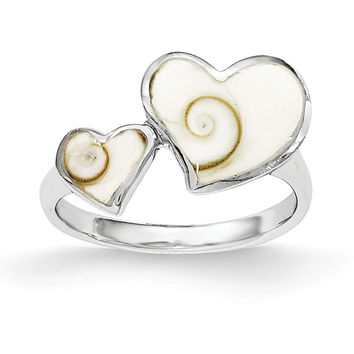 Sterling Silver Polished Hearts Shiva Eye Ring