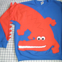 Alligator sweatshirt, Florida Gators colors, royal blue and orange. Alligator Army. Adult size small, medium, large