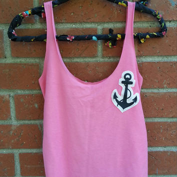 Anchor Cut Out Tank Top / Adult Pink