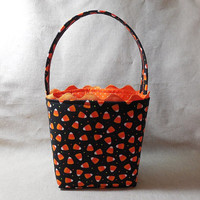 Cute Candy Corn Halloween Themed Fabric Basket With Handle